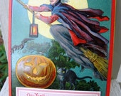 Antique Saxony Halloween Red Witch Lantern Postcord - RARE Uncirculated 1910s - from DustyMillerAntiques