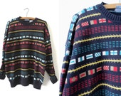 90s Abstract Flags Pattern Knit Sweater - Hip Hop Style Oversized Jumper - Mens XL