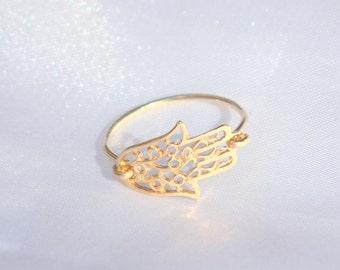 Gold Hamsa Ring - 14k gold filled filigree hamsa ring, gold sideways hamsa ring, evil eye charm, gift for her, charm ring