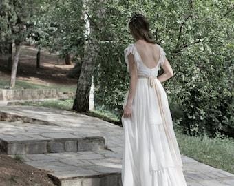 Ivory Bohemian Wedding Dress, Long Boho Wedding Gown, Bridal Gown, Gypsy Bridal Dress, Long Bridal Dress, Gypsy Wedding Dress, SuzannaM