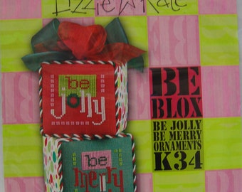 Lizzie Kate, Be Blox, Be Jolly / Be Merry Ornaments, Cross Stitch Partial Kit