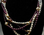 AVON Necklace Heather and Mist Gray and Amethyst Pearl