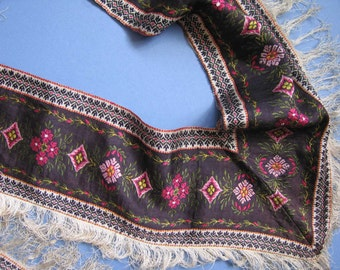 Lovely 19thc Woven Silk Antique Paisley? Border for Foldover Shawl