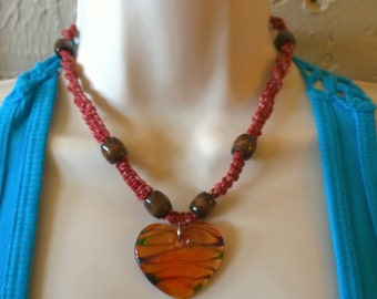 The Heart of It All- Hemp Necklace with Red Dyed Hemp and Brown Wooden Beads