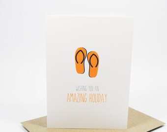 Bon Voyage Card - Orange Flipflops Thongs - Holidays- BON008 - Amazing Holiday