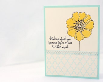 Blank Flower Notecard in Yellow and Blue