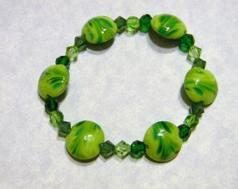 Shades of Spring Green Art Glass Lampwork and Crystal Bracelet