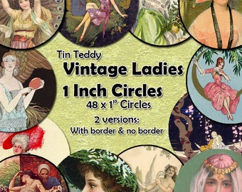 Vintage Ladies Printable Digital Collage Sheet  - 1 Inch Women Circles x 48  - Perfect for Jewelry, Bottle Caps etc, Inchie Circles