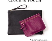 Combo leather clutch & leather pouch