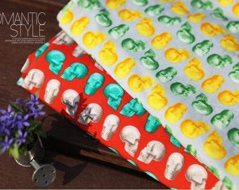 Skull Fabric ITY Knit Fabric - Yellow Skull or Mint Skull - By the Yard - 51708