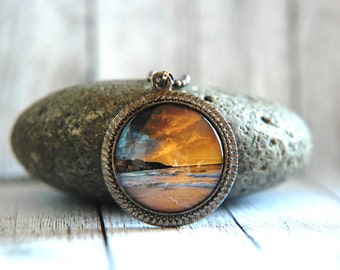 "1"" Round Glass Pendant Necklace or Key Chain - Beach Sunset"