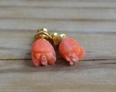 Amazing antique art deco style gold tone pink coral rose earings (maybe Napier)