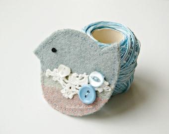 Blue Bird Brooch,  Eco Friendly,  Textile Jewelry, Upcycled Bird, Eco Friendly