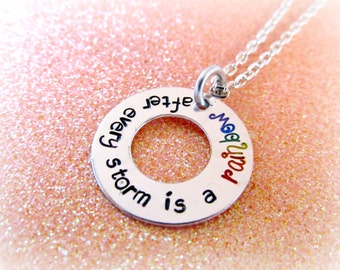 Rainbow Necklace - After Every Storm is a Rainbow of Hope - Hope Necklace - Hope Jewelry - Rainbow Baby Necklace - Inspirational Necklace
