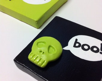 Halloween Skull and Spider lime Green and Black wall Hangings - hand painted on Canvas set of 2