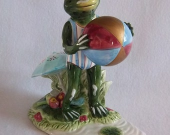 Rare Lily Pad Lane Figurine - Ready for the Beach Playful Frog Figural Vintage Home Decor