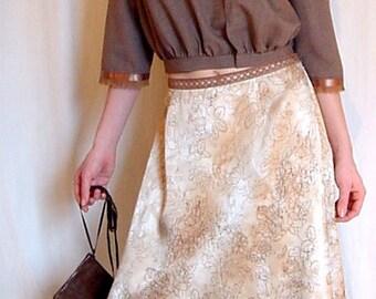 SALE, Asymmetric Floral Silk Skirt with Crochet Trim, Boho-Deco Style Silk Skirt with Angeled Hemline, Maxi Skirt, Floral.
