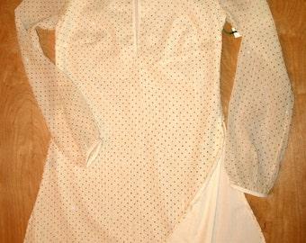 Tunic Mini Dress, Mini Dress, Tunic Dress, Long Sleeve Mini Dress, Ivory Tunic w/ Gold Dot Sparkles in Gauze, White & Gold Dress, Sun Dress