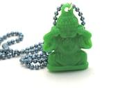 Green Buddha Necklace, Buddha Pendant, Green Acrylic Buddha Hangs from Blue Ball Chain, Buddha Jewelry, Yoga Jewelry, Yoga Gift