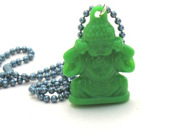 Green Buddha Necklace, Pendant, Green Acrylic Buddha Hangs from Blue Ball Chain, Buddha Jewelry, Yoga Jewelry, Yoga Gift, Earth Day
