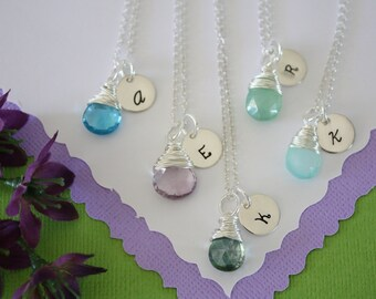 8 Bridesmaid Gift Personlized Necklace, Initial Jewelry, Bridal Party, Gemstone and Initial, Gift Set, Sterling Silver, Wedding
