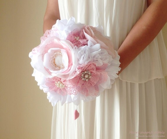 Peony Inspired Wedding Ideas: Fabric Bridal Bouquet Peony Bouquet Vintage Inspired