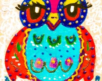 Nursery Room Decor, Owl Print, Funny Owl, Owl Wall Art, Art For Kids, Owl Decor , Blue And Red, Boys Room, Hoot,Hoot! by Paula DiLeo_51614