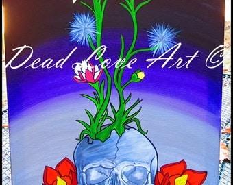 "Original Art ""Compost"" Skull Painting on Canvas"