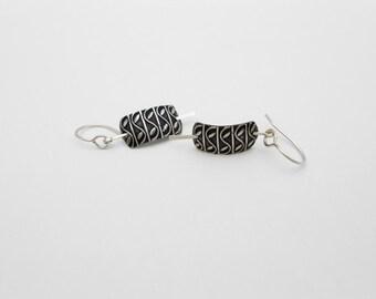 Silver Metal Clay Earrings, Curved Leaf Earrings, Leaves and Vines, Sensitive Ears, Made to Order