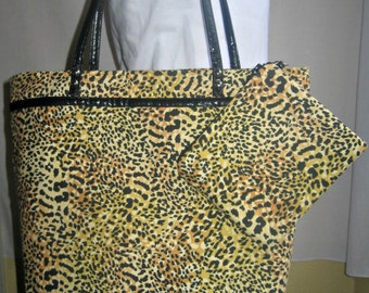 Cheetah Tote Bag with Leather Trim, Leopard Tote, Travel Bag, Women's Handbag Fall Trends, Handmade by iDesign For You