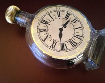 2Days Sale Vintage Avon 1960s Clock, glass bottle clock, Avon After Shave Bottle