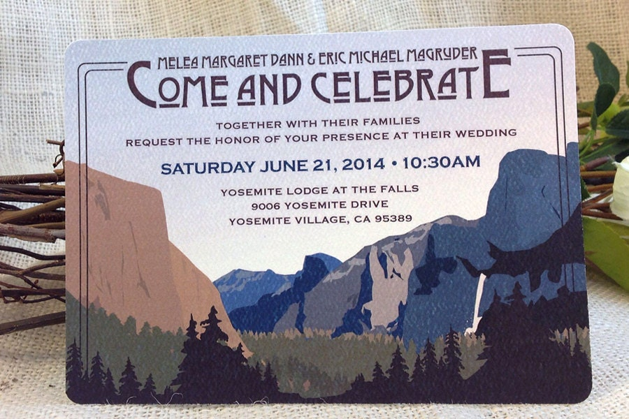 Yosemite Wedding Invitations: Yosemite Tunnel View Craftsman 5x7 Wedding Invitation & RSVP