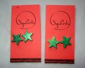 Metallic Green - Wee Wooden Earrings - Stud - Post Earrings - Wooden Stars