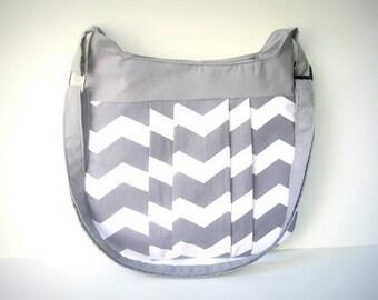 Gray Chevron Crossover Shoulder Bag / Gray Chevron Bag / Messanger Bag / Purse / Diaper Bag