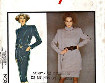 Misses Military Style Dress or Tunic, Straight Skirt and Shawl Style 1081 Size 6 - 12