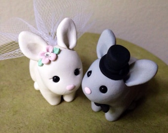 Kissy Bunnies Wedding Cake Topper Handmade