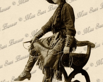 Instant Download or Print - Cowgirl with Lasso (C15)