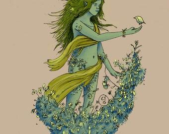Forest Nymph-Fine Art print of my original illustration