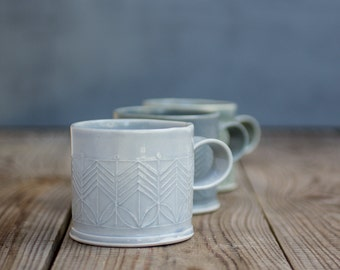 Ceramic Mug, Light Blue Coffee Cup, Modern Tea Cup, Geometric leaf pattern, Gift for coffee lover, Unique coffee mug, Holidays gift