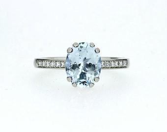 9x7mm Oval cut Aquamarine engagement ring, white gold, solitaire ring, aquamarine solitaire, diamond ring, diamond engagement, light blue