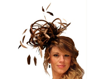 Brown and Gold Satin  Feather Fascinator Hat - wedding, ladies day - choose any colour feathers & satin
