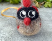 Needle Felted Female Cardinal Ornament- Felted Cardinal Bird Decoration, Cardinal Christmas Ornament, Gift for Birder or Nature Lover