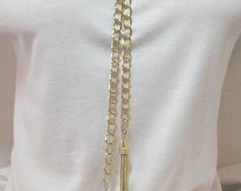Gold or Silver Tassel Long Y Necklace Minimalist Lariat Simplicity Chain Jewelry Adjustable