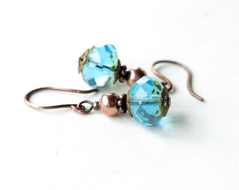 Aqua bead earrings - Blue faceted picasso Czech glass & copper