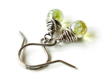 Teardrop dangle earrings -  sterling silver wire wrapped green Picasso glass beads