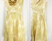 Vtg 60's Brilliant Gold/Bronze Brocade Jacquard Roses Party Cocktail Wedding Dress