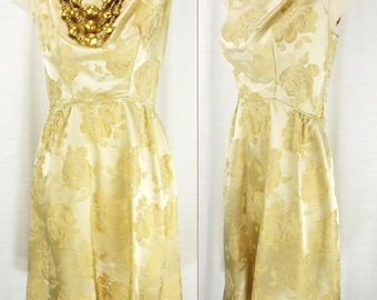 Vtg 60's Brilliant Gold/Bronze Brocade Jacquard Roses Party Cocktail Wedding Dress