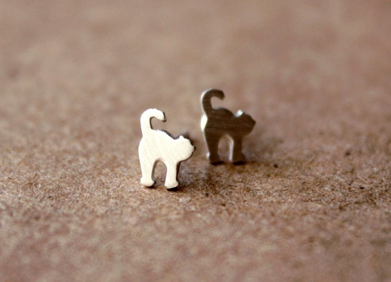 Tiny Silver Cat Earrings - Sterling Silver Earring Post - Silver Jewelry - Silver Clay - PMC
