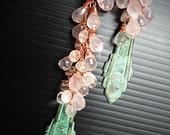 Earrings, Chandelier Earrings, Rose Quartz Earrings, Verdigris Earrings, Art Nouveau Earrings, Long Pink Earrings