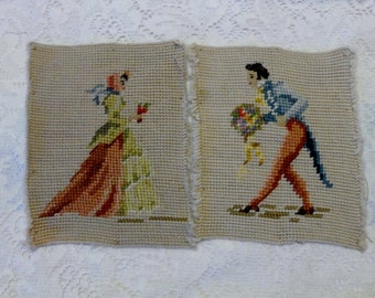 Needlepoint Victorian Set UnFramed 1940's Decor Courting Couple Cottage Chic Shabby Chic Romantic